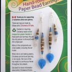 $19 Light blue with hints of brown; hand-rolled paper beads; silver-plated ear hook