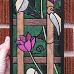 Clematis (mini vertical). Recycled paper-tile mosaic. 106 pieces. $168 tax-free. 5&quot;Wx14&quot;H. Very reasonable shipping available.