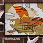 Da Vinci Flying Machine 1, small. 177 paper tiles. $275. Includes framing. Tax-free. 17″x13.5″ Very reasonable shipping available.