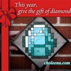 Diamond (mini) . 50 paper tiles. $95. Tax-free. Includes framing. 7.5″x7.5″ Recycled and hand-made papers. Inspired by the game Minecraft.