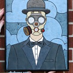 Man in a Gas Mask (small). $202. Tax-free. Includes framing. 13.5x17 121 paper tiles. Very reasonable shipping available (free delivery in Ottawa). Recycled and hand-made papers.