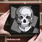 Skull, mini. 82 paper tiles. $137. Includes framing. Tax-free. 7.5x7.5 Very reasonable shipping available.