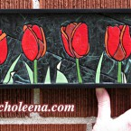 Tulips, mini horizontal. 86 paper tiles. $142. Includes framing. Tax-free. 14x5 Very reasonable shipping available.