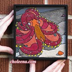 Octopus (mini). 97 paper tiles. $156. Tax-free. Includes framing. 7.5x7.5 Very reasonable shipping available. Recycled and hand-made papers.
