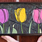 Multi-coloured Tulips, mini. 86 paper tiles. $142. Includes framing. Tax-free. 14x5