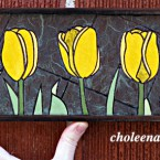Yellow Tulips (mini), 86 paper tiles. $142. Includes framing. Tax-free. 14x5