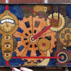 paper-tile mosaic in the style of Steampunk