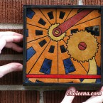 Gears, mini detail 2. 52 paper tiles. $98. Includes framing. Tax-free. 7.5″x7.5″ Very reasonable shipping available.