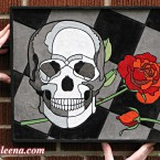 "Skull and Rose, small. 143 paper tiles. $231. Includes framing. Tax-free. 13.5 x 17"" Very reasonable shipping available."