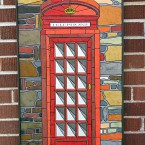 paper-tile mosaic in Steampunk British telephone booth