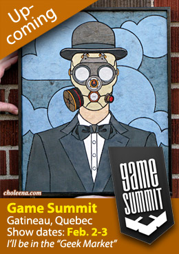 Announcing geeky art at Game Summit, Gatineau, Quebec, Canada