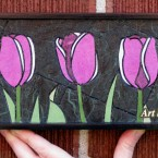 Purple Tulips (mini), 86 paper tiles. $142. Includes framing. Tax-free. 14″x5″