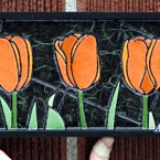 Orange Tulips (mini), 86 paper tiles. $142. Includes framing. Tax-free. 14″x5″