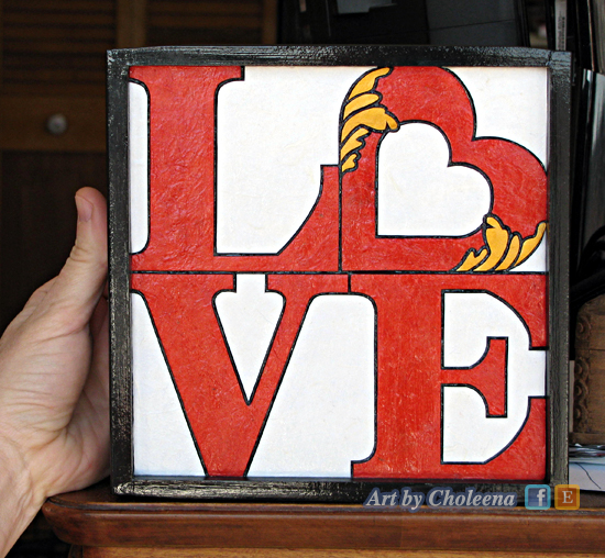 "paper mosaic ""LOVE""; homage to Robert Indiana's Pop Art"