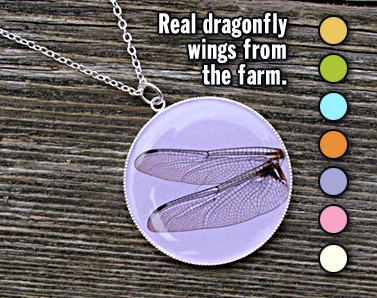 Real dragonfly wings and hand-made paper in a necklace. Many colors to choose from, including yellow, lime, green, blue, orange, purple, pink and cream or white.
