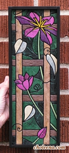 "Clematis (mini vertical). Recycled paper-tile mosaic. 106 pieces. $168 tax-free. 5""Wx14""H. Very reasonable shipping available."