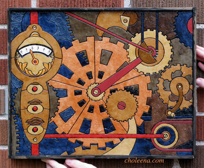 Gears. Recycled paper-tile mosaic. 212 pieces. $321 tax-free. 16.75″W x 13.5″H