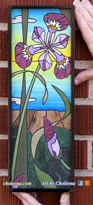"""Sackville Iris"", paper mosaic, $174, tax-free. 5""W x 14.25""H Free delivery in Ottawa. Affordable shipping elsewhere."