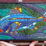 """Fish (mini-ish) Recycled paper, vegetable dyes and acrylic gel Framed; 13.25 x 7.25"""" $261"""