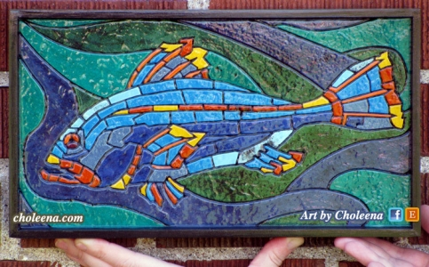 "Mini Fish, paper mosaic, $227, tax-free, 13.25""W x 7.25""H, free shipping in Ottawa, affordable shipping elsewhere"