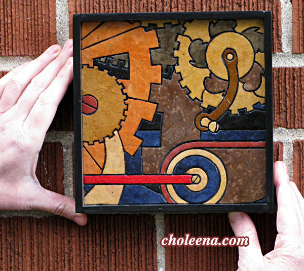 Gears, mini detail 3. 58 paper tiles. $105. Includes framing. Tax-free. 7.5″x7.5″ Very reasonable shipping available.