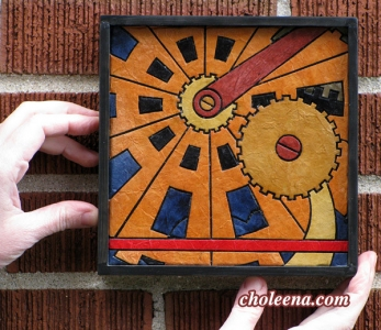 Gears, mini detail 1. 52 paper tiles. $98. Includes framing. Tax-free. 7.5″x7.5″ Very reasonable shipping available.
