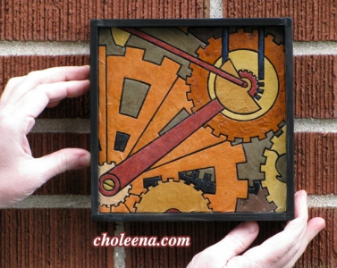 Gears, mini detail 2. 58 paper tiles. $105. Includes framing. Tax-free. 7.5″x7.5″ Very reasonable shipping available.