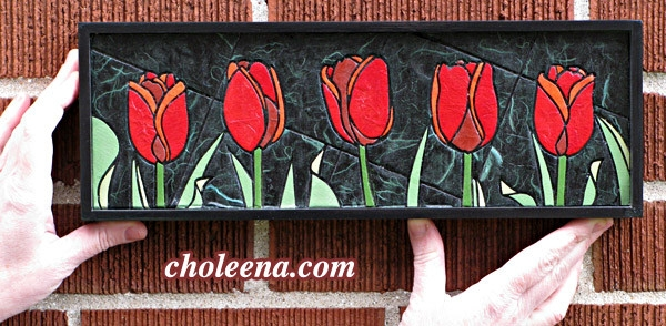 Tulips, mini horizontal. 86 paper tiles. $142. Includes framing. Tax-free. 14″x5″ Very reasonable shipping available.