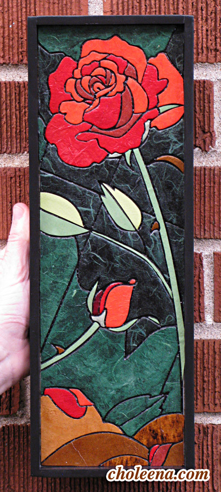 "Rose (mini vertical). Recycled paper-tile mosaic. 81 pieces. $135 tax-free. 5""Wx14""H. Very reasonable shipping available."