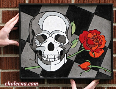 Skull and Rose, small. 143 paper tiles. $231. Includes framing. Tax-free. 17″x13.5″ Very reasonable shipping available.