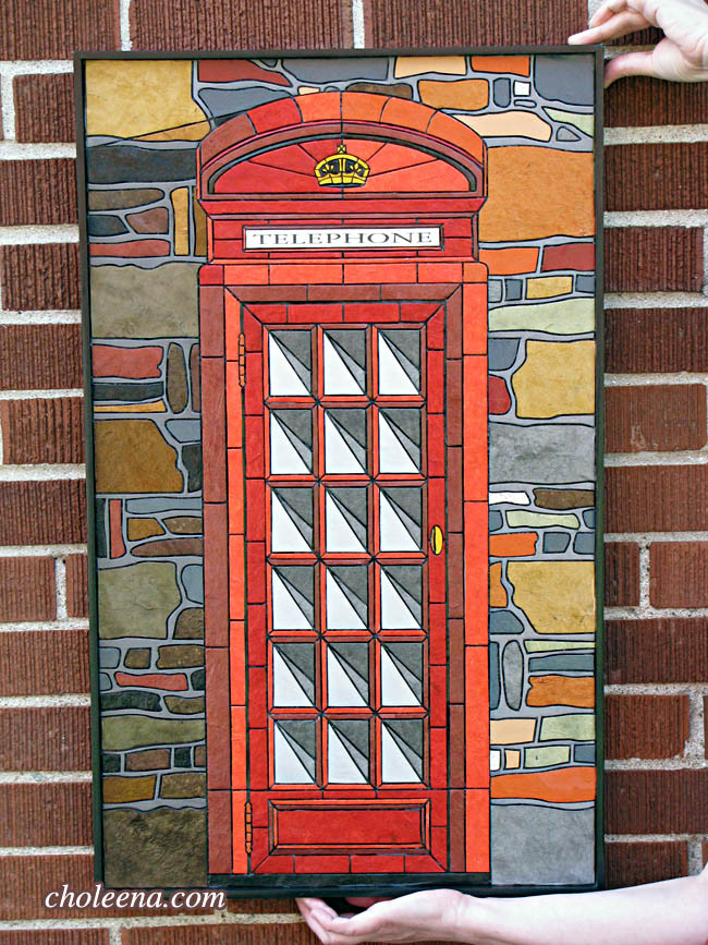 Telephone Booth (small). Recycled paper-tile mosaic. 357 pieces. $577 no tax. 18″W x 29.5″H.