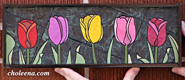 Multi-coloured Tulips, mini. 86 paper tiles. $142. Includes framing. Tax-free. 14″x5″