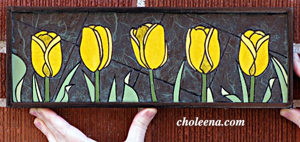 Yellow Tulips (mini), 86 paper tiles. $142. Includes framing. Tax-free. 14″x5″