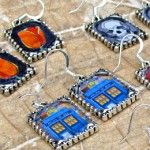 TARDIS image as earrings.