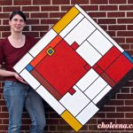 """Mondrian Fish (large) Recycled paper, vegetable dyes and acrylic gel Framed; 36.5 x 36.5"""" $632"""