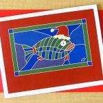 Santa Fish greeting card. $5