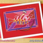Cupid Fish greeting card. $5