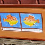 """(See tongue-in-cheek Scientific Description) Pin Cushion Fish Watercolour on Arches paper; recycled sewing box items. Framed; 17.25 x 29.25"""" $435"""