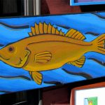 """Fish in Water Acrylic on stretched canvas Unframed; 36 x 20"""" $280"""