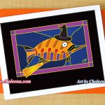 Witch Fish greeting card. $5