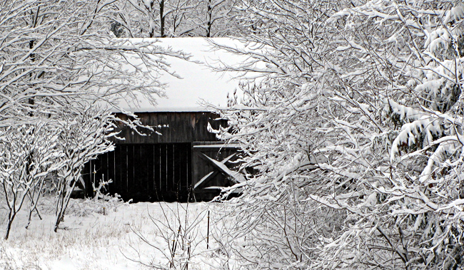 Farm - Snow-covered small barn