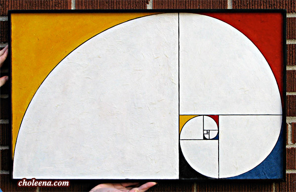"""""""Mondrian 1.6180339887..."""" Small: $275; tax-free; 29x18"""". Large: $350; tax-free; 36.5x22.75""""  Recycled and hand-made papers. This artwork marries Piet Mondrian's colour blocks with Fibonacci's Golden Ratio."""