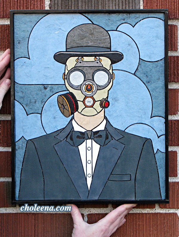 Man in a Gas Mask (small). $202. Tax-free. Includes framing. 13.5″x17″ 121 paper tiles. Very reasonable shipping available (free delivery in Ottawa). Recycled and hand-made papers.