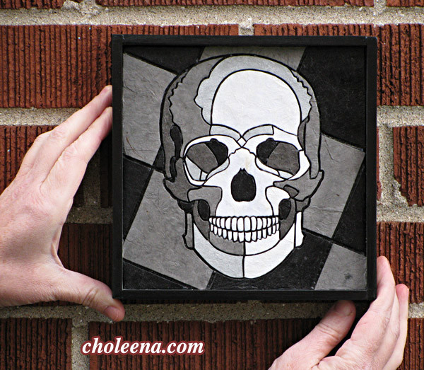 Skull, mini. 82 paper tiles. $137. Includes framing. Tax-free. 7.5″x7.5″ Very reasonable shipping available.