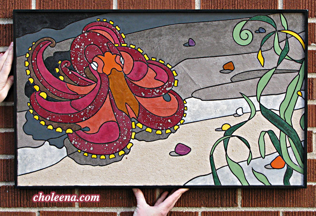 Octopus (medium). 198 paper tiles. $317. Tax-free. Includes framing. 29.5″x18″ Very reasonable shipping available. Recycled and hand-made papers.