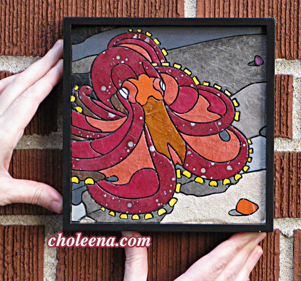 Octopus (mini). 97 paper tiles. $156. Tax-free. Includes framing. 7.5″x7.5″ Very reasonable shipping available. Recycled and hand-made papers.