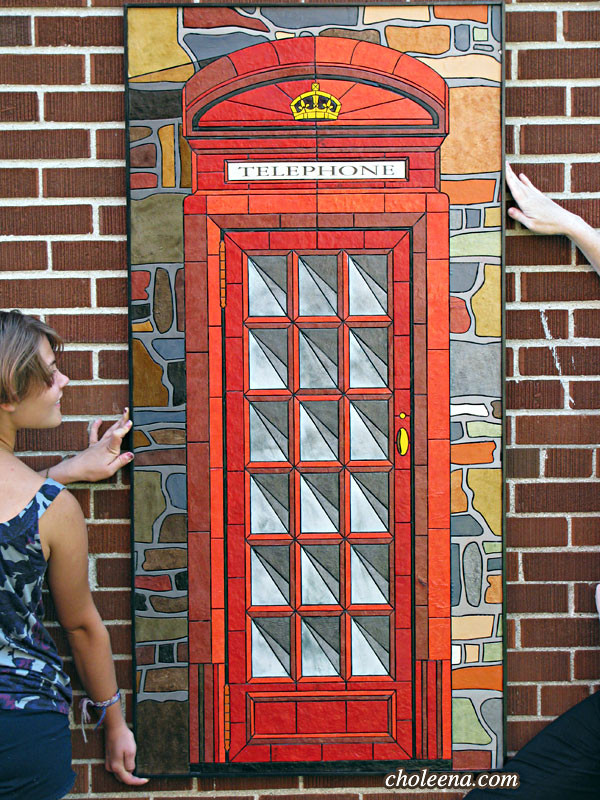London telephone booth mosaic artwork.