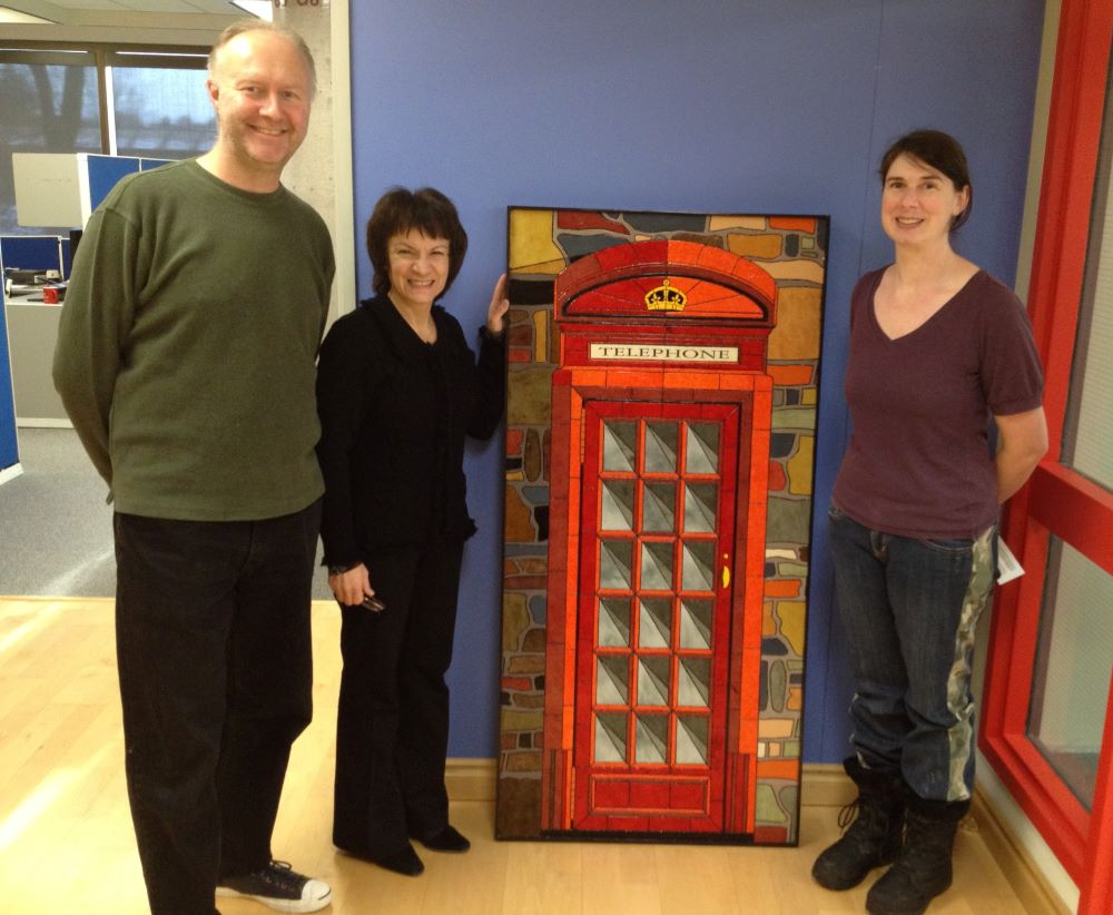 InGenius Software hanging my telephone booth mosaic artwork. InGenius now owned by Upland Softare.